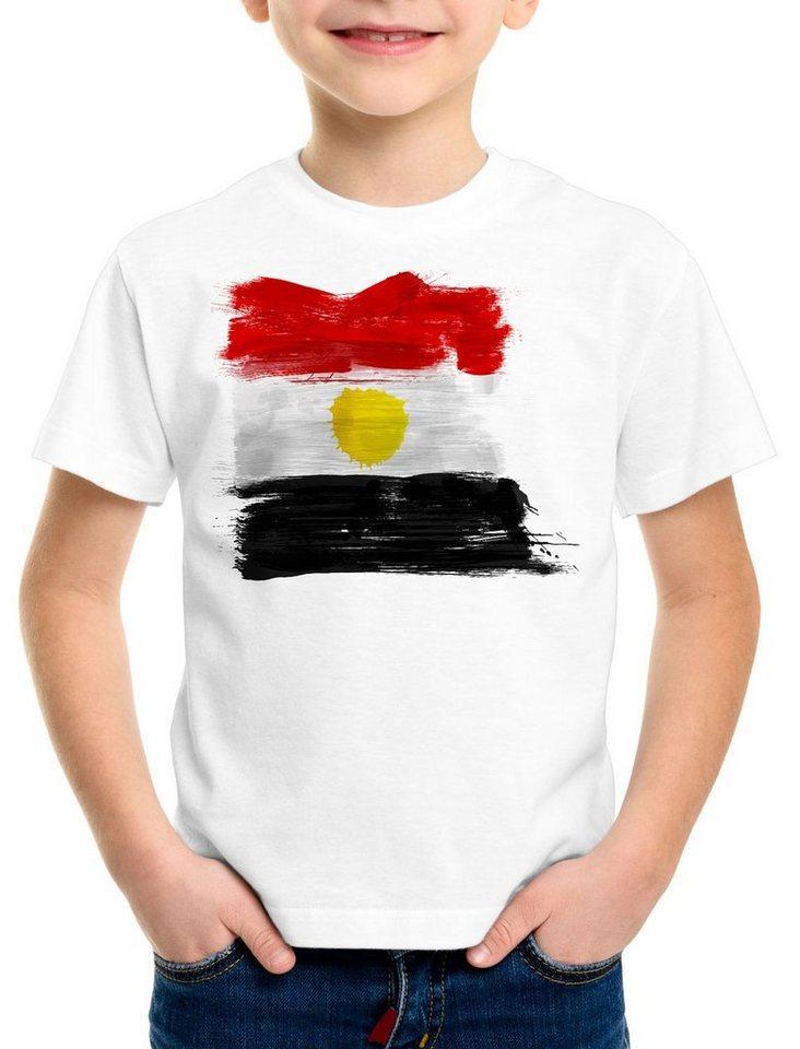 style3 Print-Shirt Kinder T-Shirt Flagge Ägypten Fußball Sport Egypt WM EM Fahne, weiß