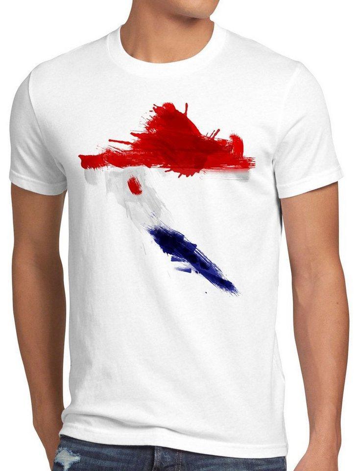 style3 Print-Shirt Herren T-Shirt Flagge Kroatien Fußball Sport Croatia WM EM Fahne, weiß