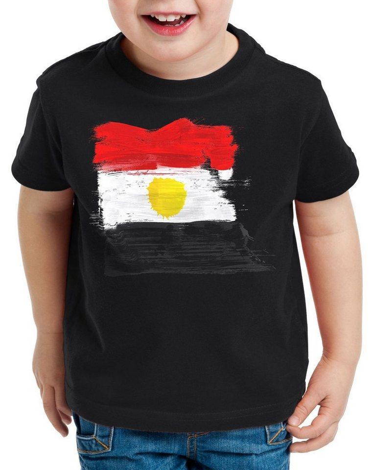 style3 Print-Shirt Kinder T-Shirt Flagge Ägypten Fußball Sport Egypt WM EM Fahne, schwarz