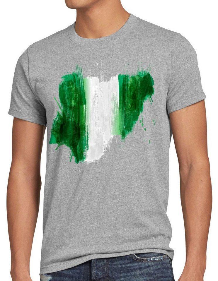 style3 Print-Shirt Herren T-Shirt Flagge Nigeria Fußball Sport Afrika WM EM Fahne, grau