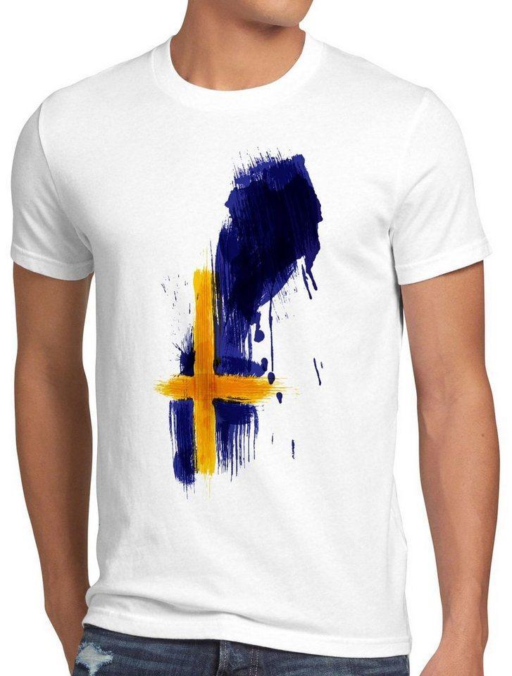 style3 Print-Shirt Herren T-Shirt Flagge Schweden Fußball Sport Sweden WM EM Fahne, weiß