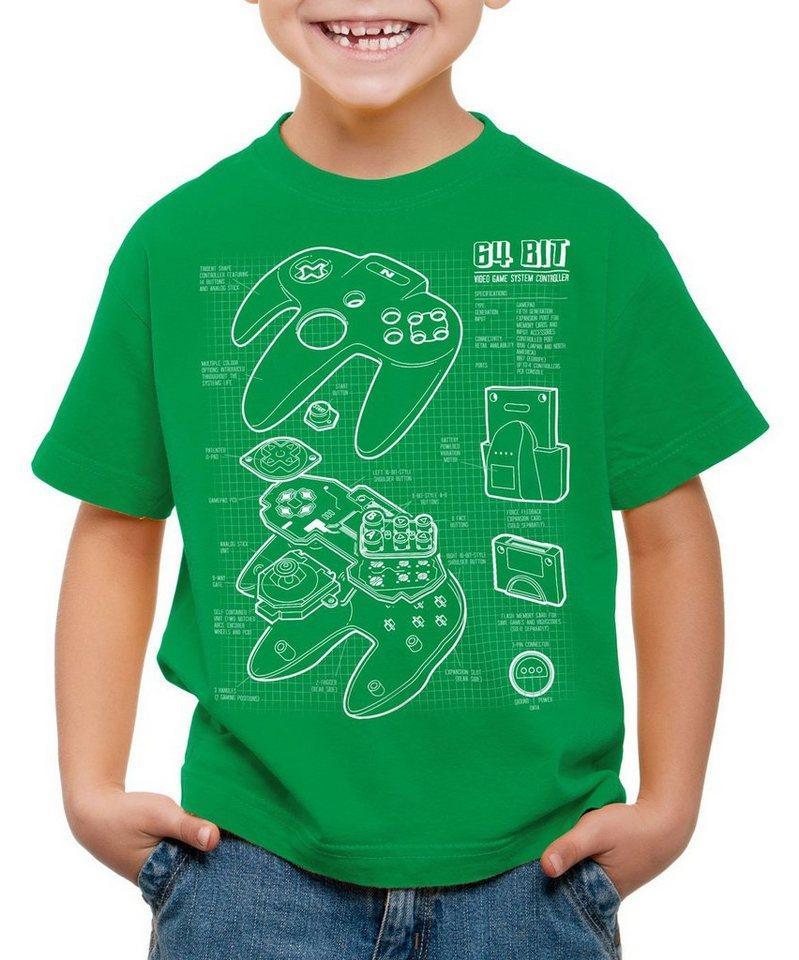 style3 Print-Shirt Kinder T-Shirt N64 Controller Blaupause 64-Bit Videospiel, grün