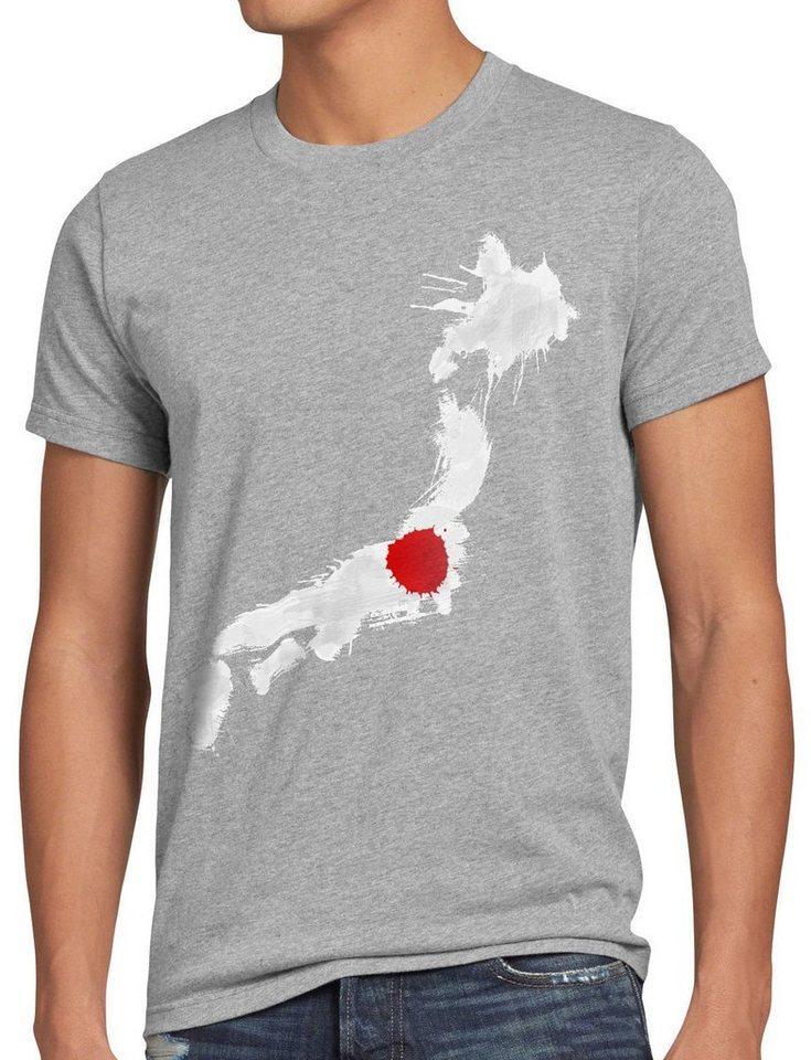 style3 Print-Shirt Herren T-Shirt Flagge Japan Fußball Sport Nihon WM EM Fahne, grau