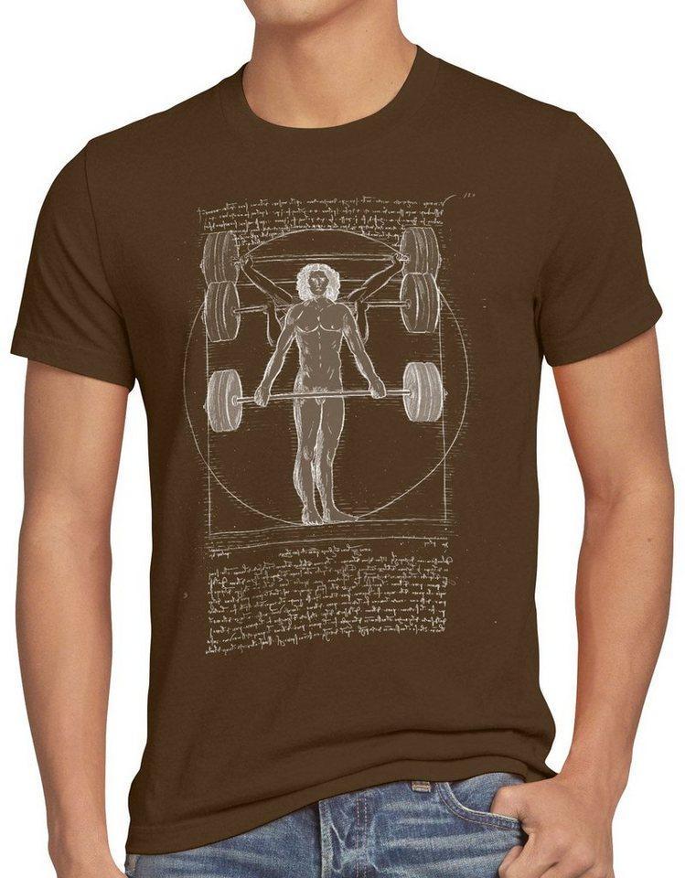 style3 Print-Shirt Herren T-Shirt Vitruvianischer Mensch mit Langhantel kreuzheben fitnesstudio, braun