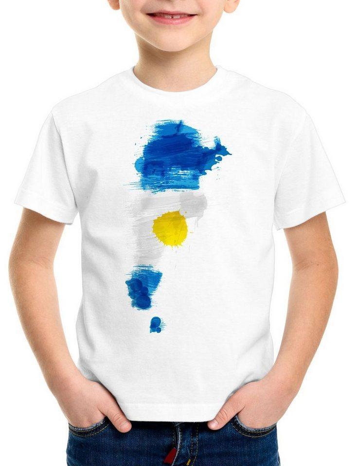 style3 Print-Shirt Kinder T-Shirt Flagge Argentinien Fußball Sport Argentina WM EM Fahne, weiß