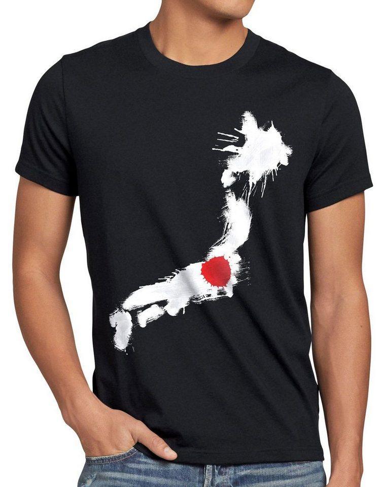 style3 Print-Shirt Herren T-Shirt Flagge Japan Fußball Sport Nihon WM EM Fahne, schwarz