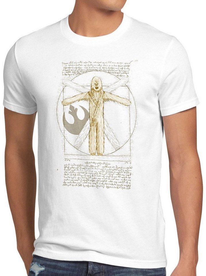 style3 Print-Shirt Herren T-Shirt Vitruvianischer Wookiee chewie da vinci, weiß