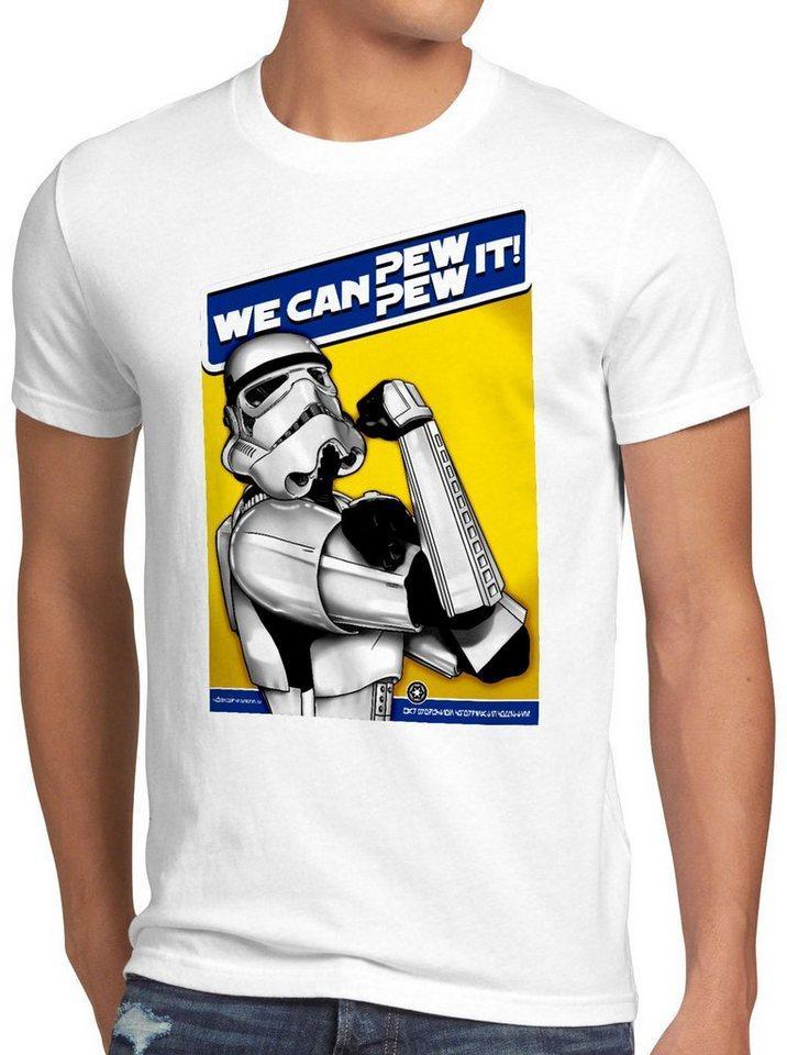 style3 Print-Shirt Herren T-Shirt Pew Pew It imperium sturmtruppen, weiß