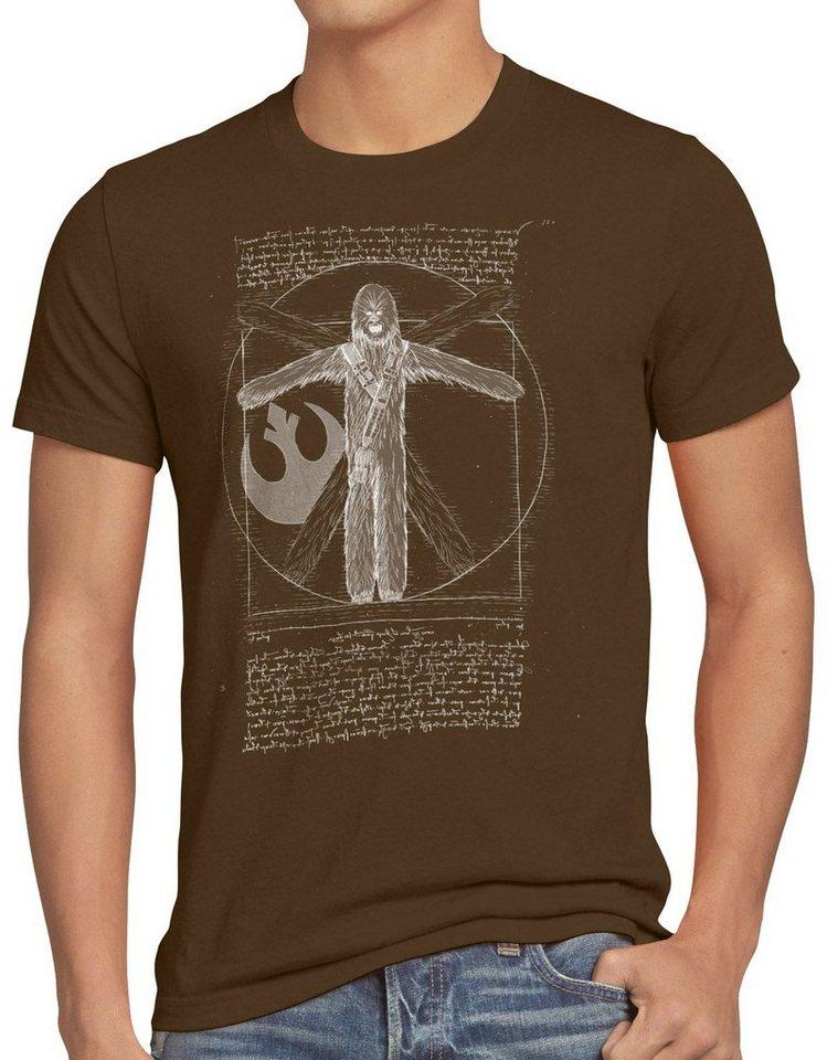 style3 Print-Shirt Herren T-Shirt Vitruvianischer Wookiee chewie da vinci, braun