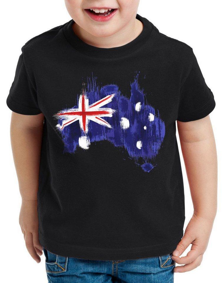style3 Print-Shirt Kinder T-Shirt Flagge Australien Fußball Sport Australia WM EM Fahne, schwarz