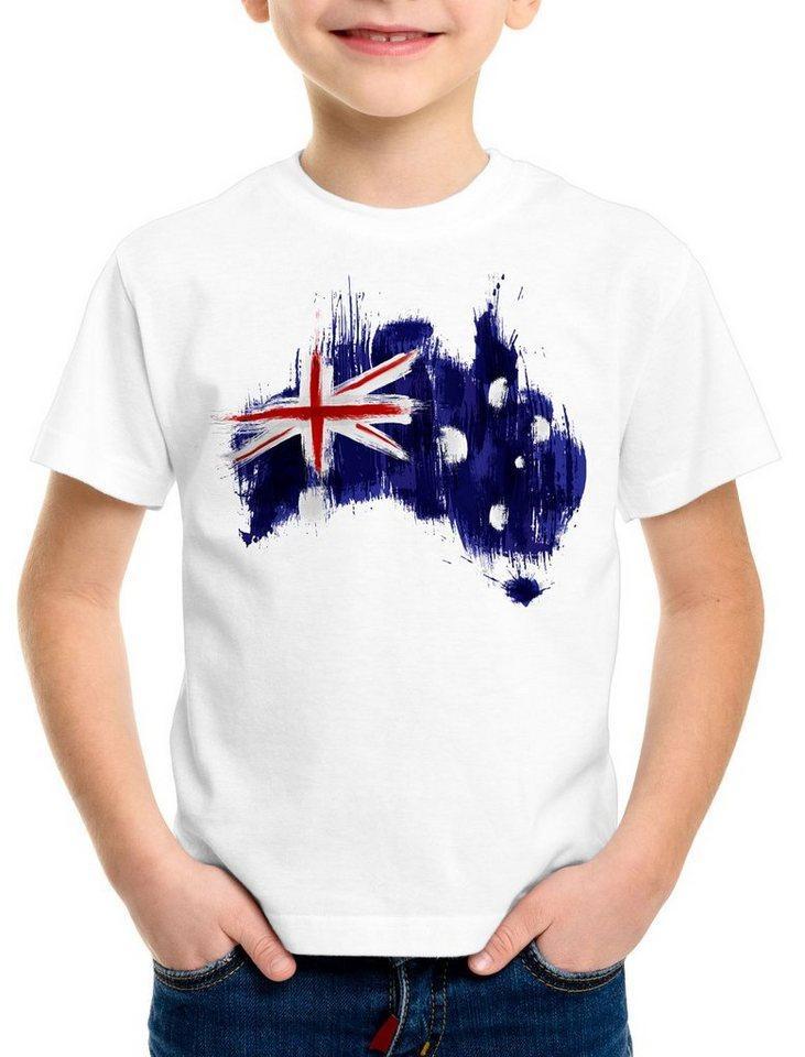 style3 Print-Shirt Kinder T-Shirt Flagge Australien Fußball Sport Australia WM EM Fahne, weiß