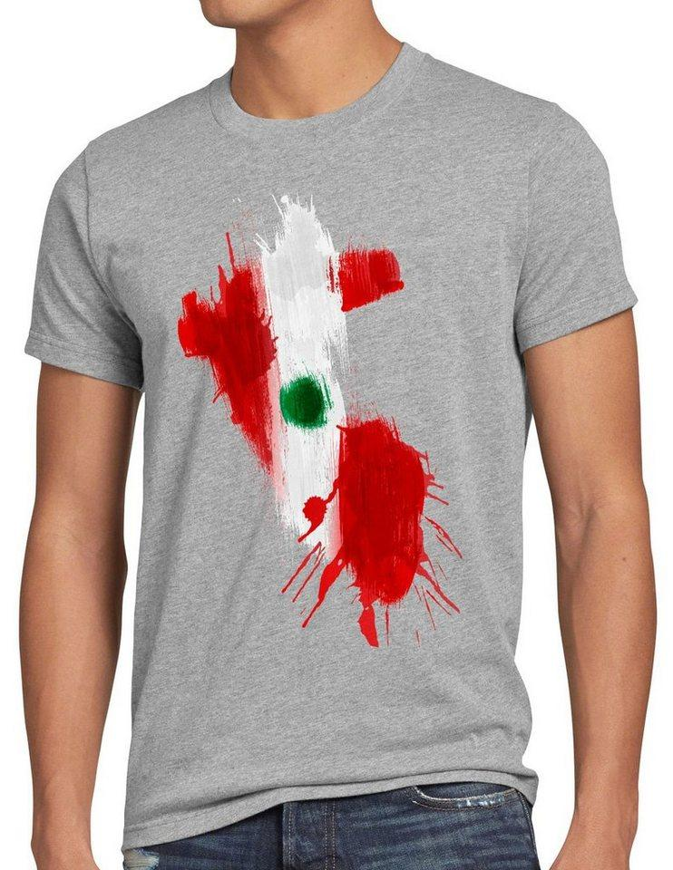 style3 Print-Shirt Herren T-Shirt Flagge Peru Fußball Sport WM EM Fahne, grau
