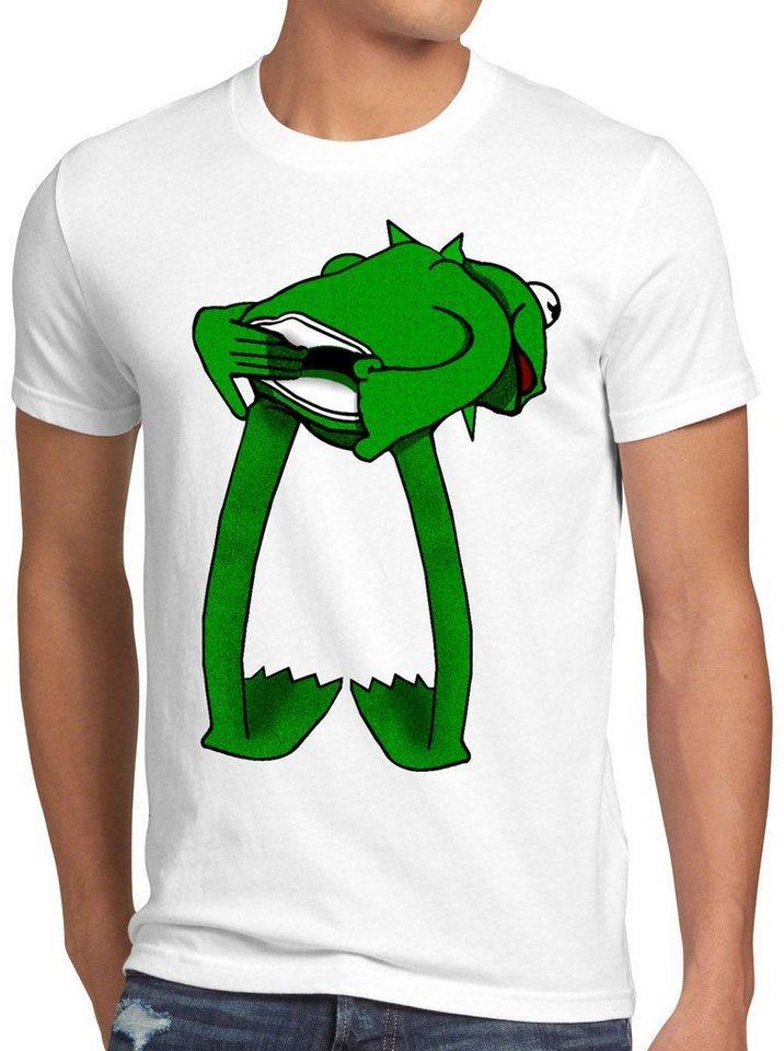style3 Print-Shirt Herren T-Shirt Kermit Frosch handpuppe, weiß