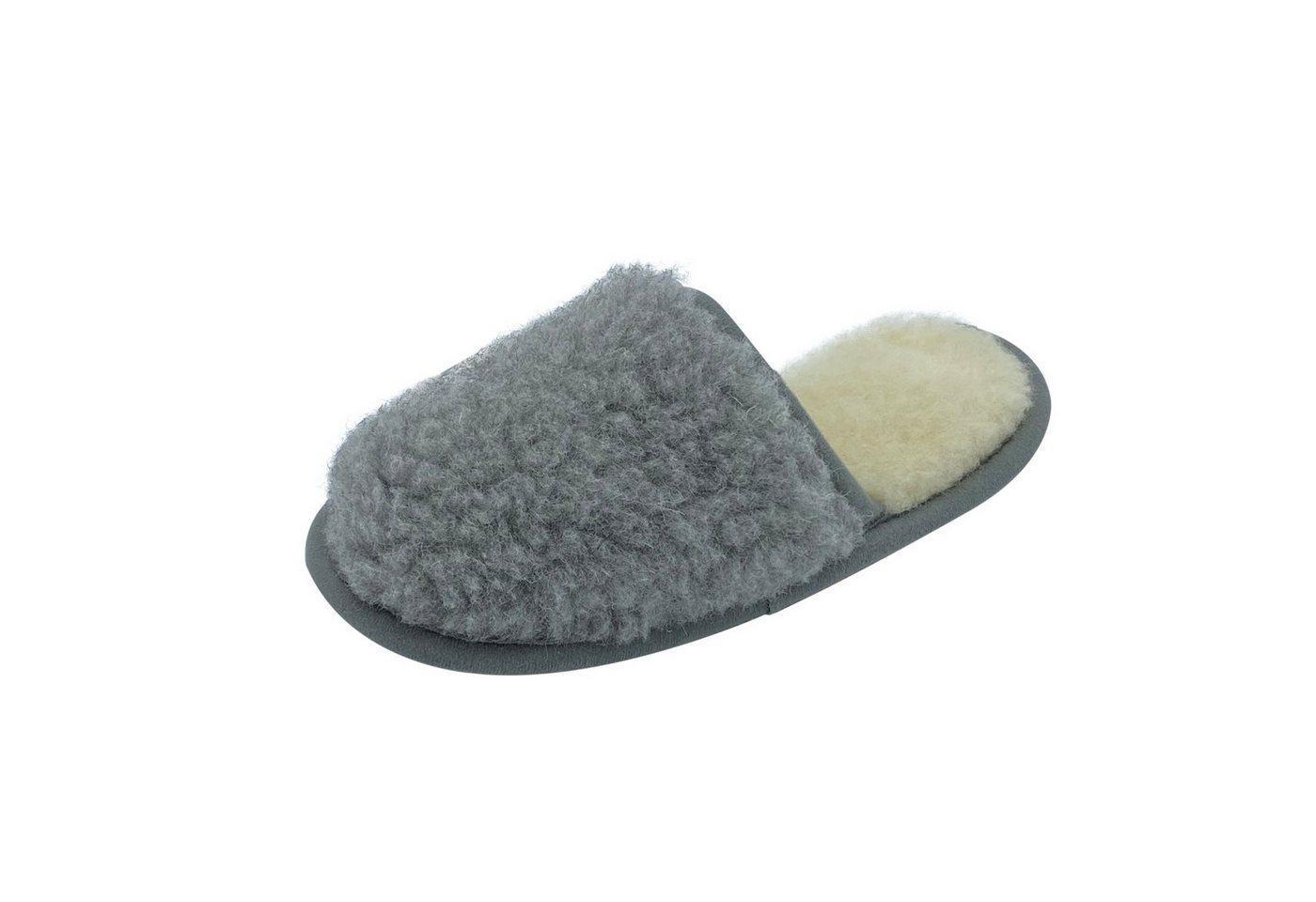 Hollert Pantoffel Luna aus Merinowolle Puschen Hausschuh warm & kuschelig, grau