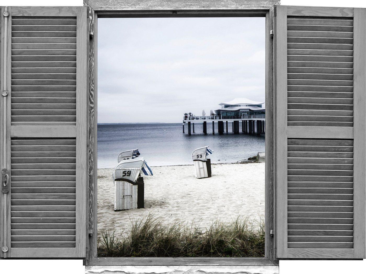 queence Wandtattoo »Strandkörbe am Meer« (1 Stück)