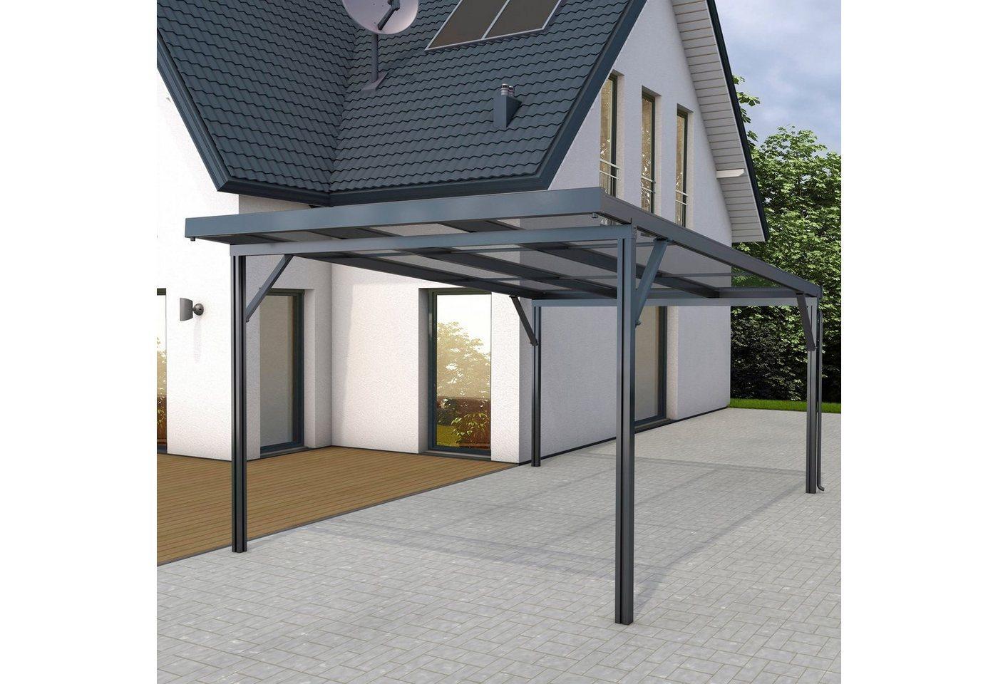 GUTTA Einzelcarport »Premium«, 200 cm Einfahrtshöhe, BxT: 309x562 cm, Dacheindeckung Acryl klar, grau