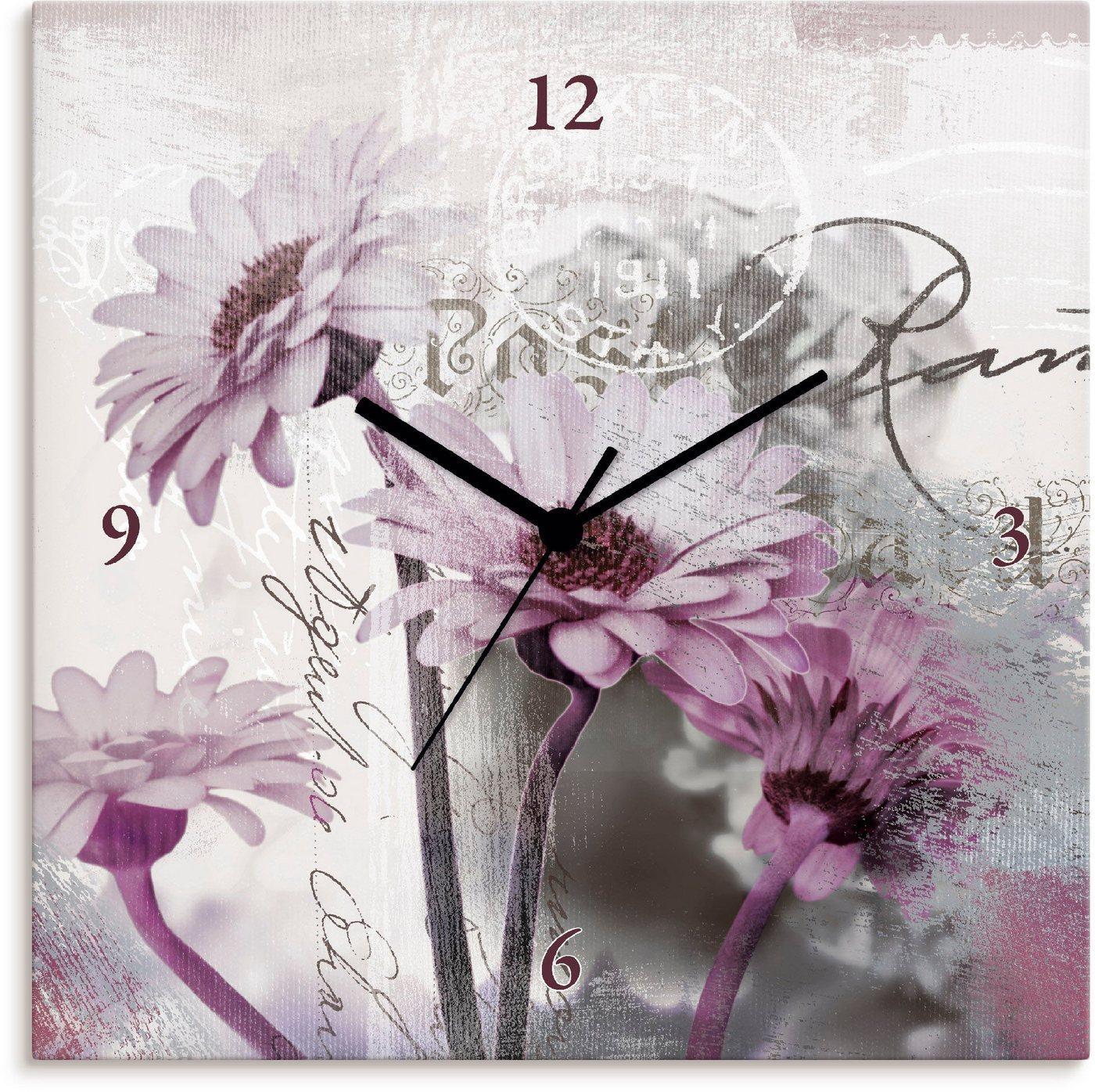 Artland Wanduhr »Fotocollage - Gerberas, lila«