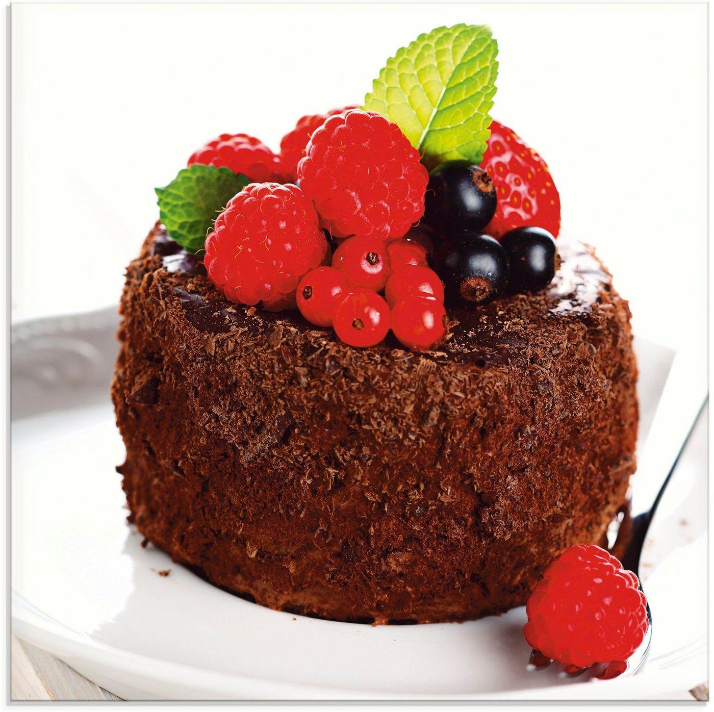 Artland Glasbild »Feiner Schokoladenkuchen mit Beeren«, Süßspeisen (1 Stück)