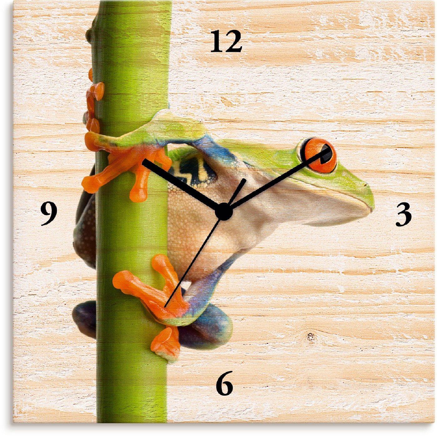 Artland Wanduhr »Frosch umfasst einen Pflanzenstengel«