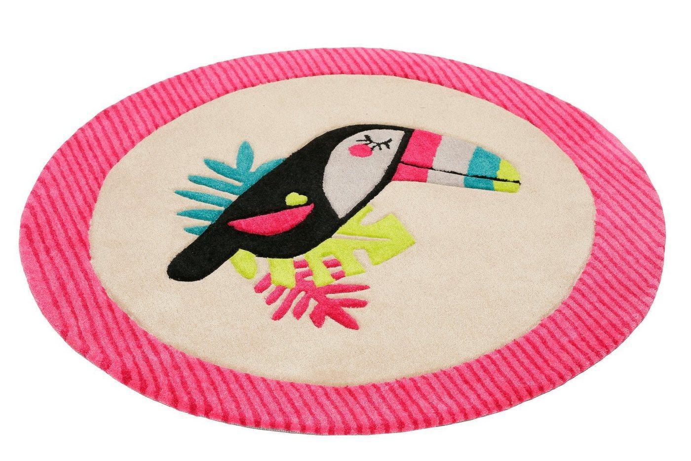 Kinderteppich »E-Toucan«, Esprit, rund, Höhe 9 mm, besonders weich, Motiv Toucan, rosa