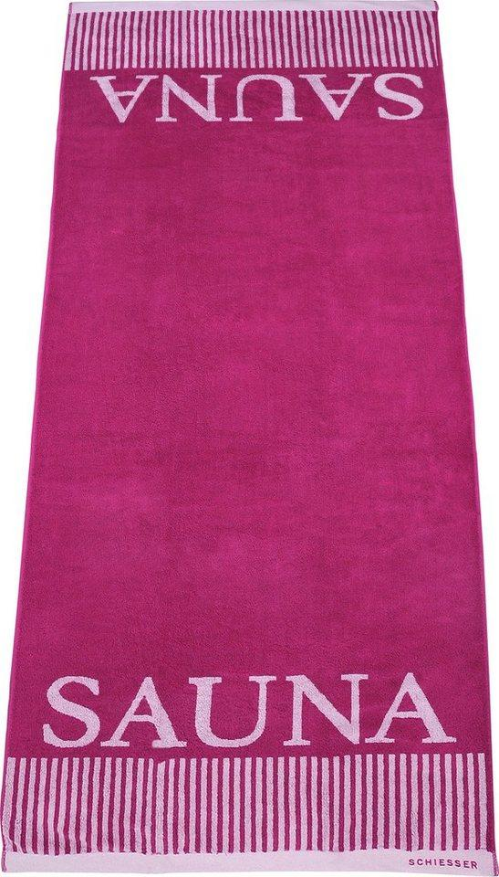 Schiesser Saunatuch »Rom« (1-St), Sauna-Aufschrift, rosa
