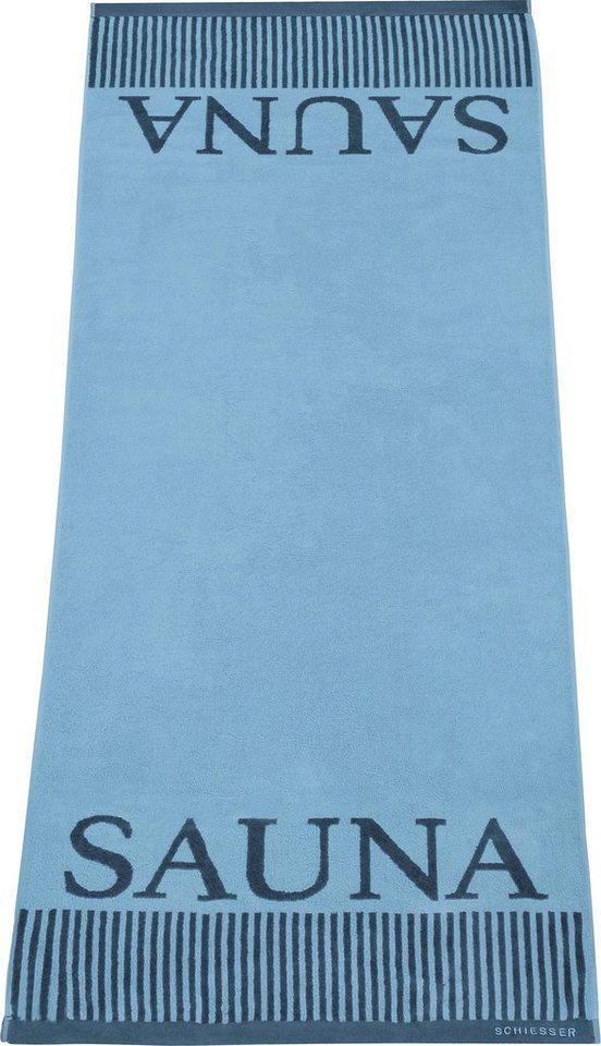 Schiesser Saunatuch »Rom« (1-St), Sauna-Aufschrift, blau