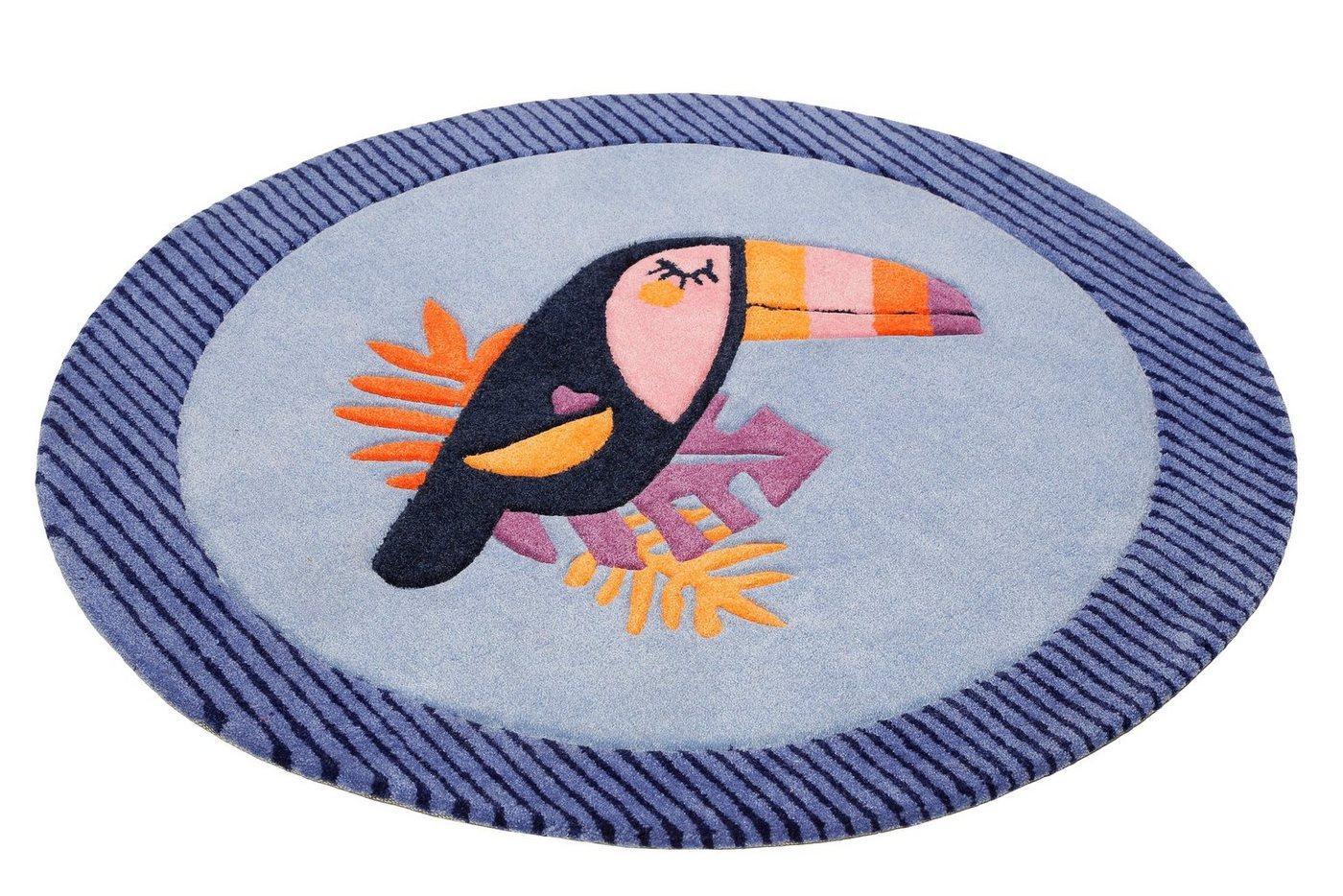 Kinderteppich »E-Toucan«, Esprit, rund, Höhe 9 mm, besonders weich, Motiv Toucan, blau