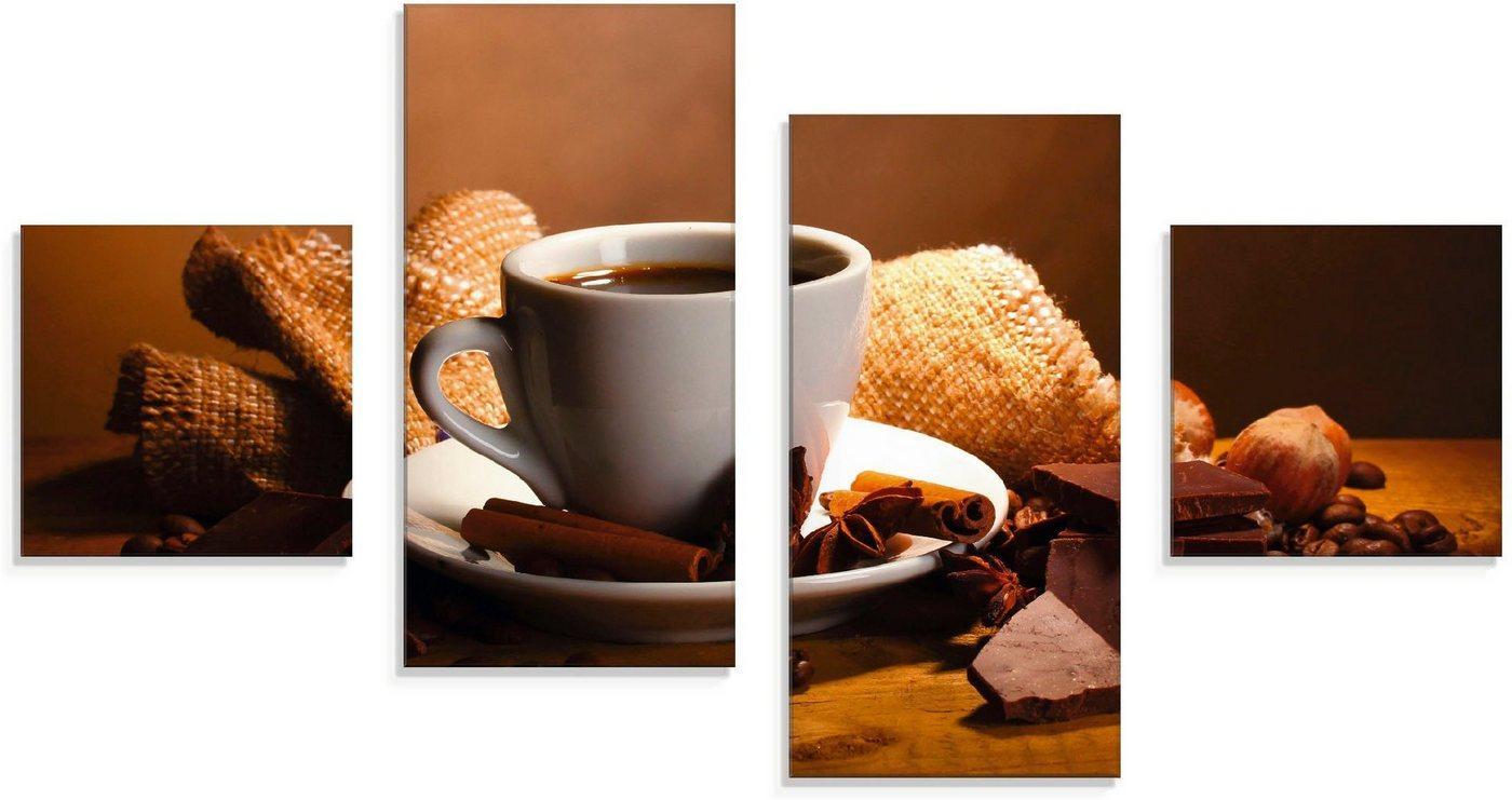 Artland Glasbild »Kaffeetasse Zimtstange Nüsse Schokolade«, Getränke (4 Stück)