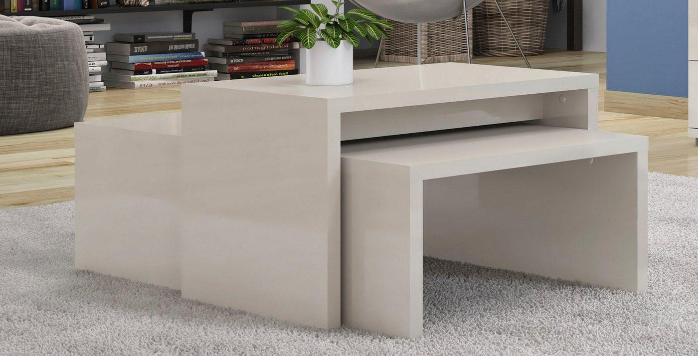Places of Style Couchtisch »Piano«, UV lackiert, 2-er Set, grau
