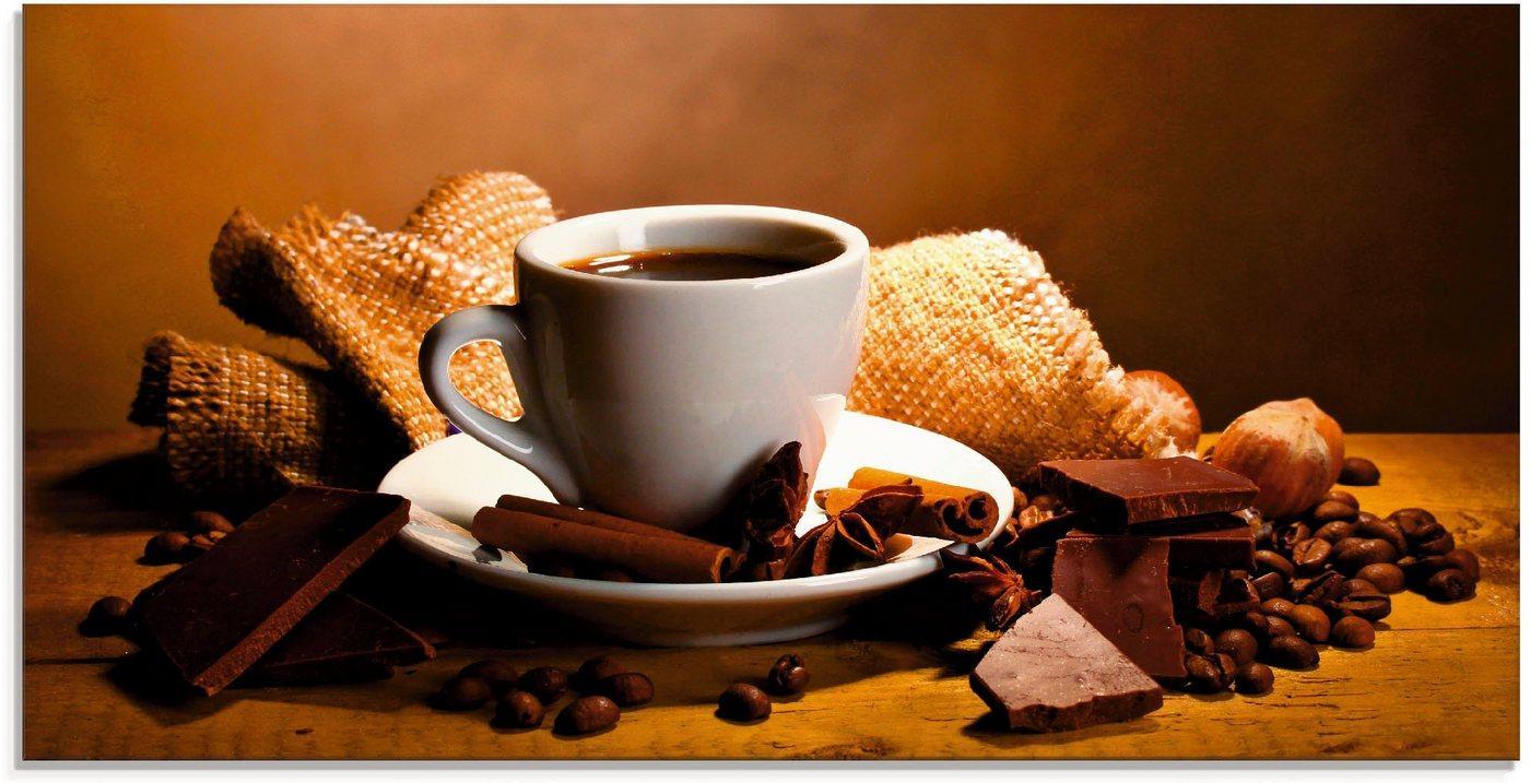 Artland Glasbild »Kaffeetasse Zimtstange Nüsse Schokolade«, Getränke (1 Stück)