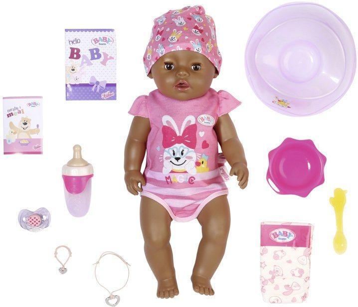 Baby Born Babypuppe »Magic Girl Brown Eyes, 43 cm« (Set, 13-tlg), mit 10 lebensechten Funktionen