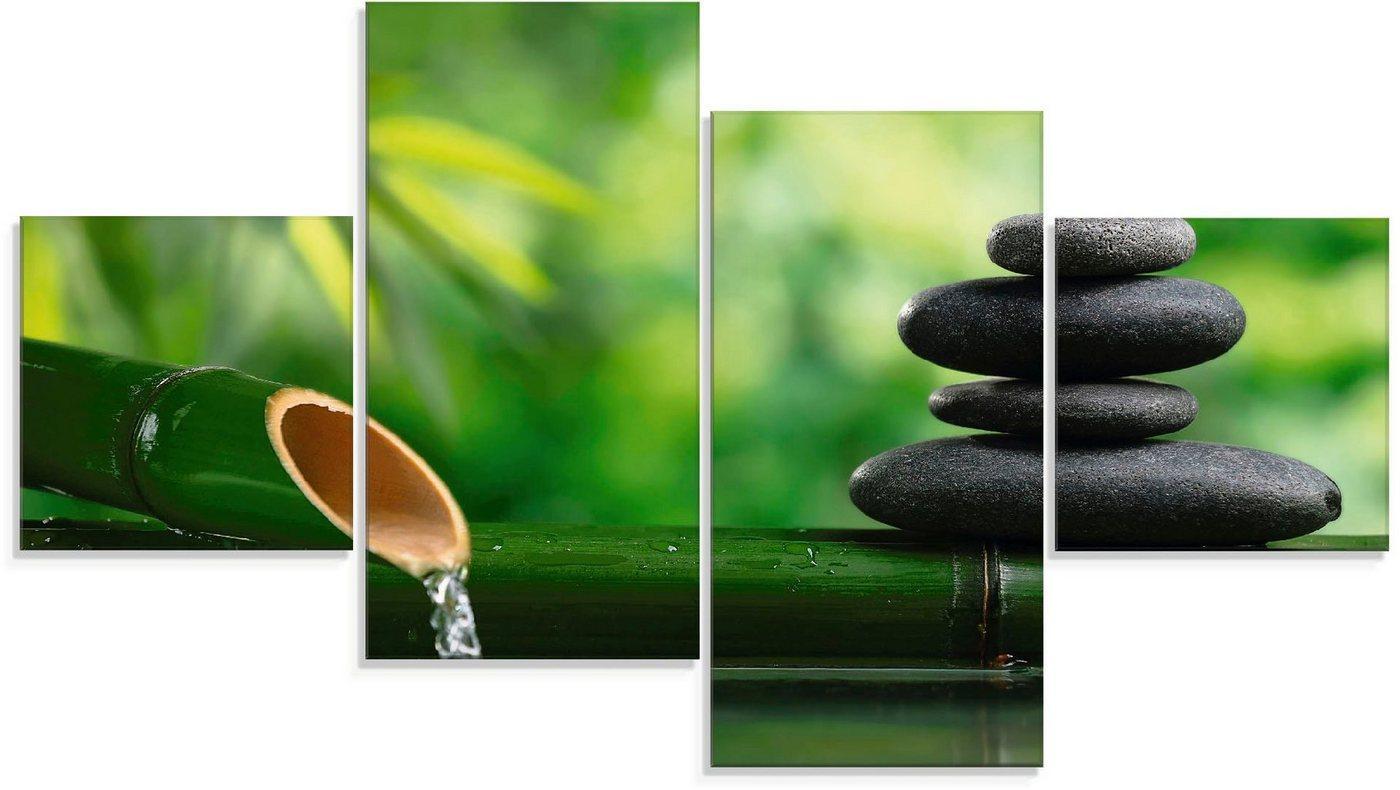 Artland Glasbild »Bambusbrunnen und Zen-Stein«, Zen (4 Stück)