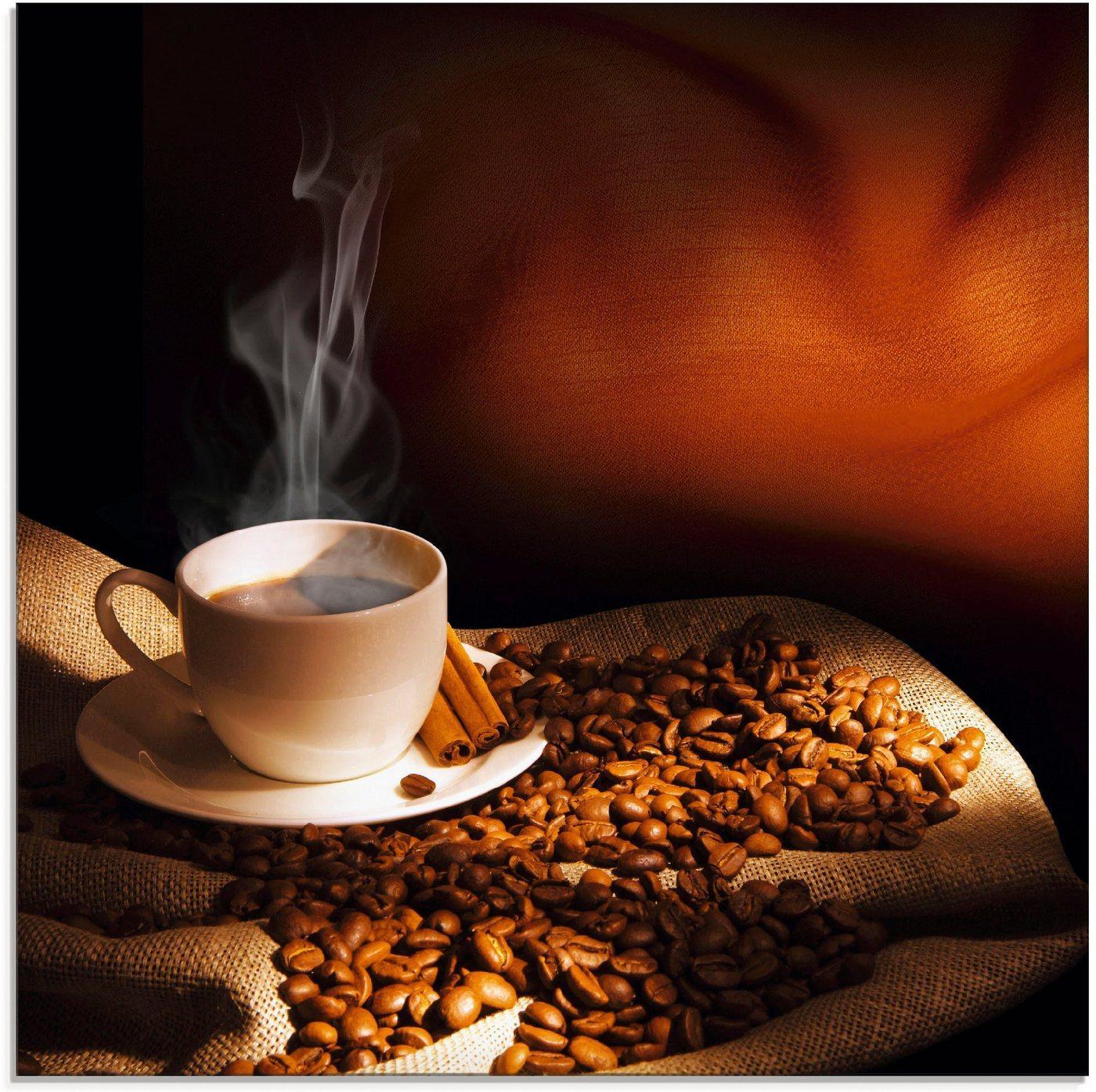 Artland Glasbild »Dampfende Tasse Kaffee«, Getränke (1 Stück)