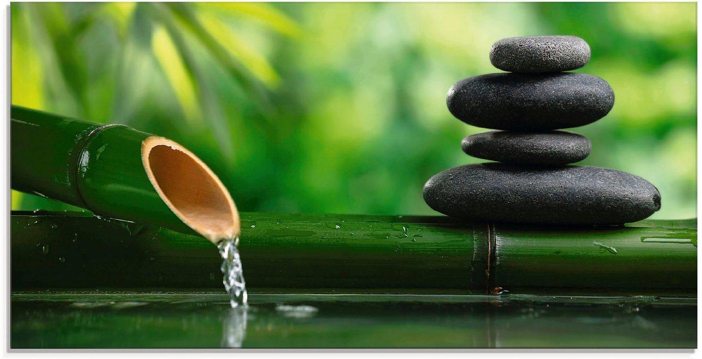 Artland Glasbild »Bambusbrunnen und Zen-Stein«, Zen (1 Stück)