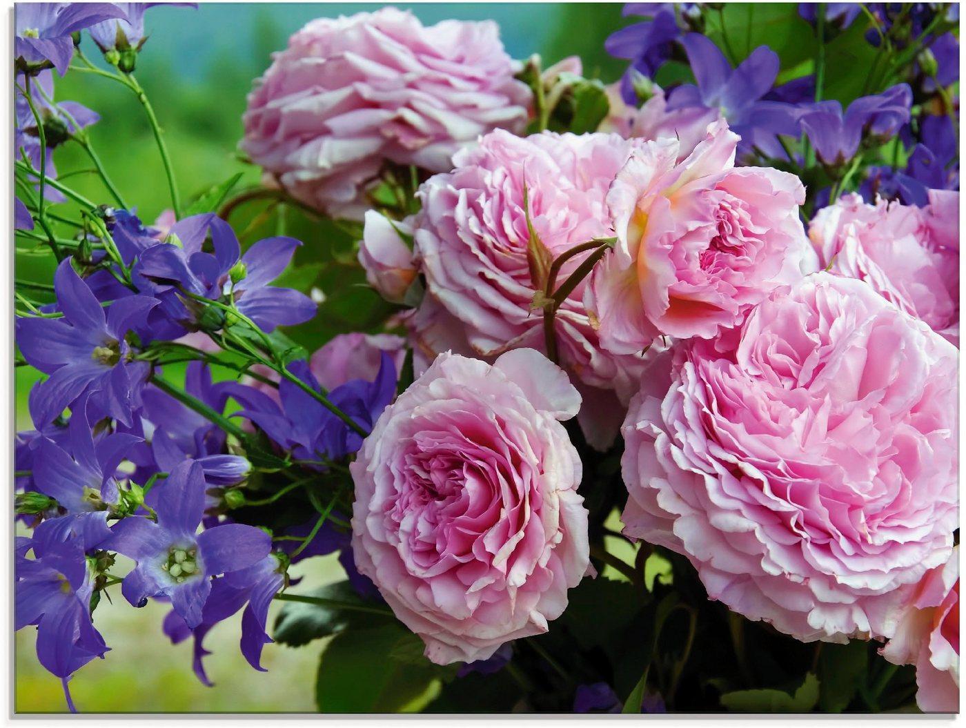 Artland Glasbild »Rosen und Glockenblumen«, Blumen (1 Stück)