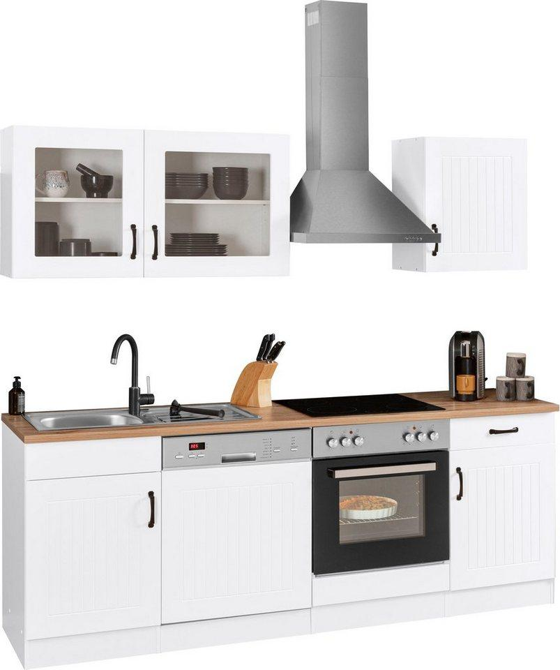 HELD MÖBEL Küchenzeile »Athen«, mit E-Geräten, Breite 220 cm, mit hochwertigen MDF Fronten, weiß