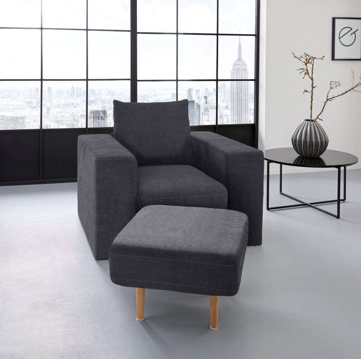LOOKS by Wolfgang Joop Sessel »Looksv«, Verwandlungssessel: aus Sessel wird Sessel mit Hocker, blau