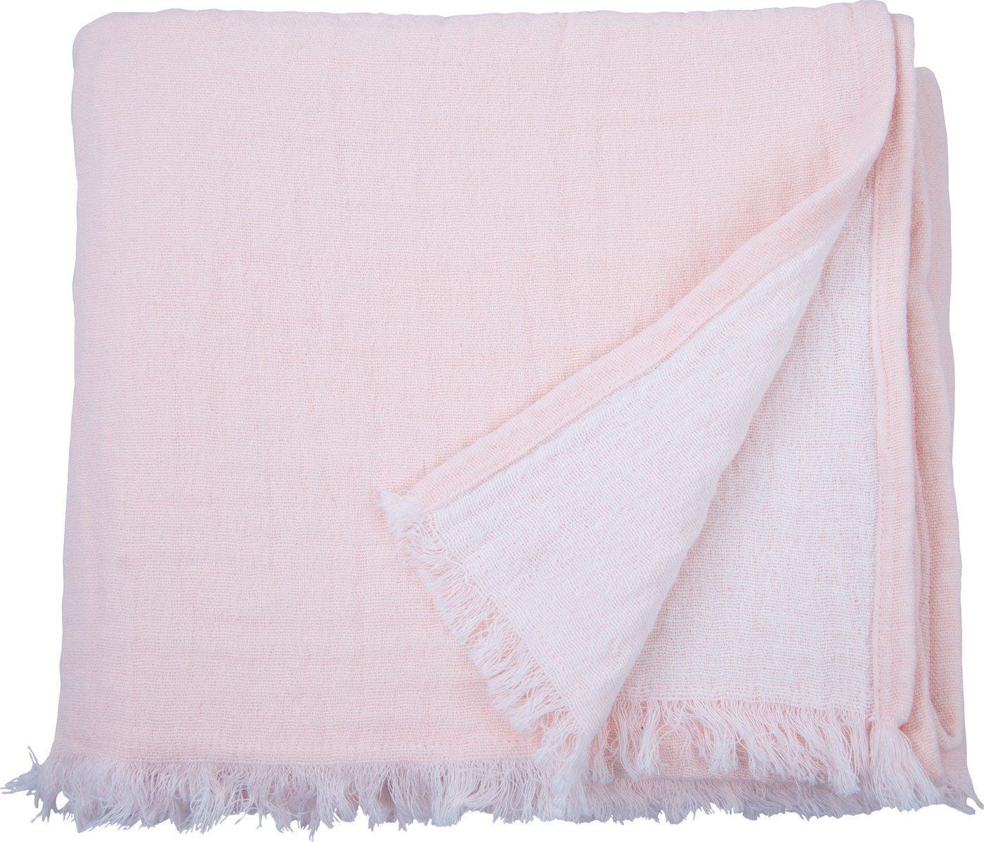 Plaid »Fringed Cotton«, TOM TAILOR, mit Fransen, rosa