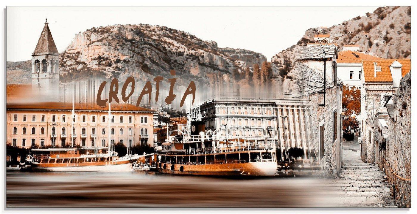 Artland Glasbild »Kroatien Skyline abstrakte Collage«, Kroatien (1 Stück)