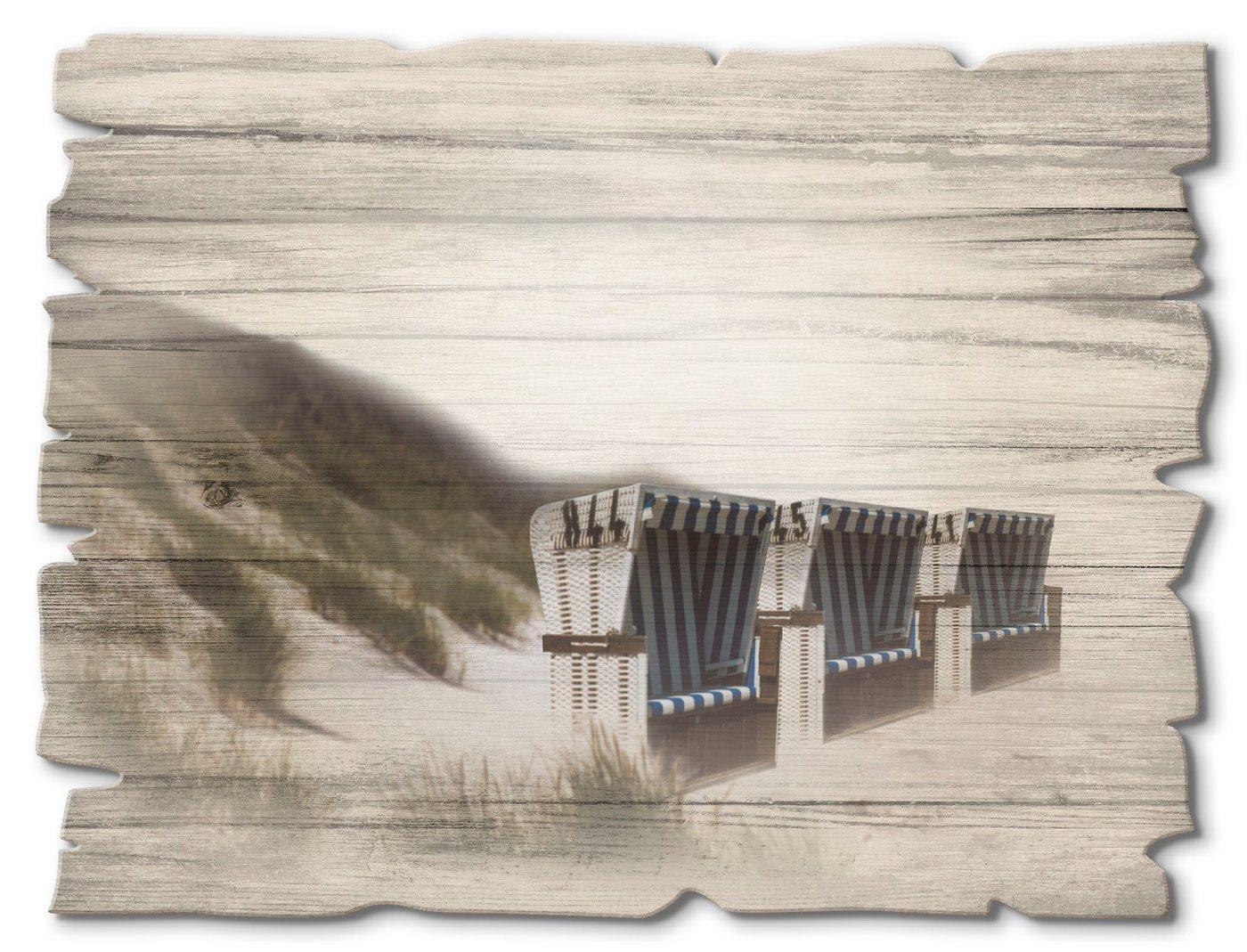 Artland Holzbild »Strandkörbe«, Strand (1 Stück)