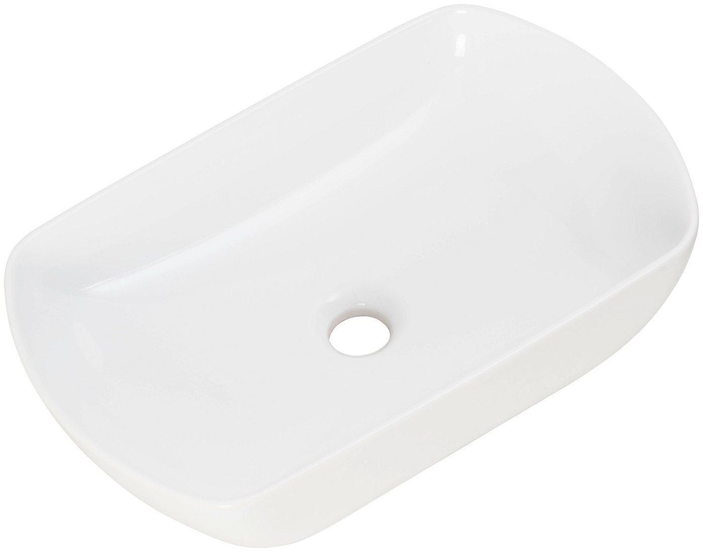 FACKELMANN Aufsatzwaschbecken »New York« (1-St), ovales Design, weiß
