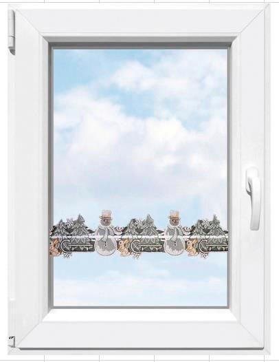 Scheibengardine »Winter«, Stickereien Plauen, Stangendurchzug (1 Stück), Fensterdekoration
