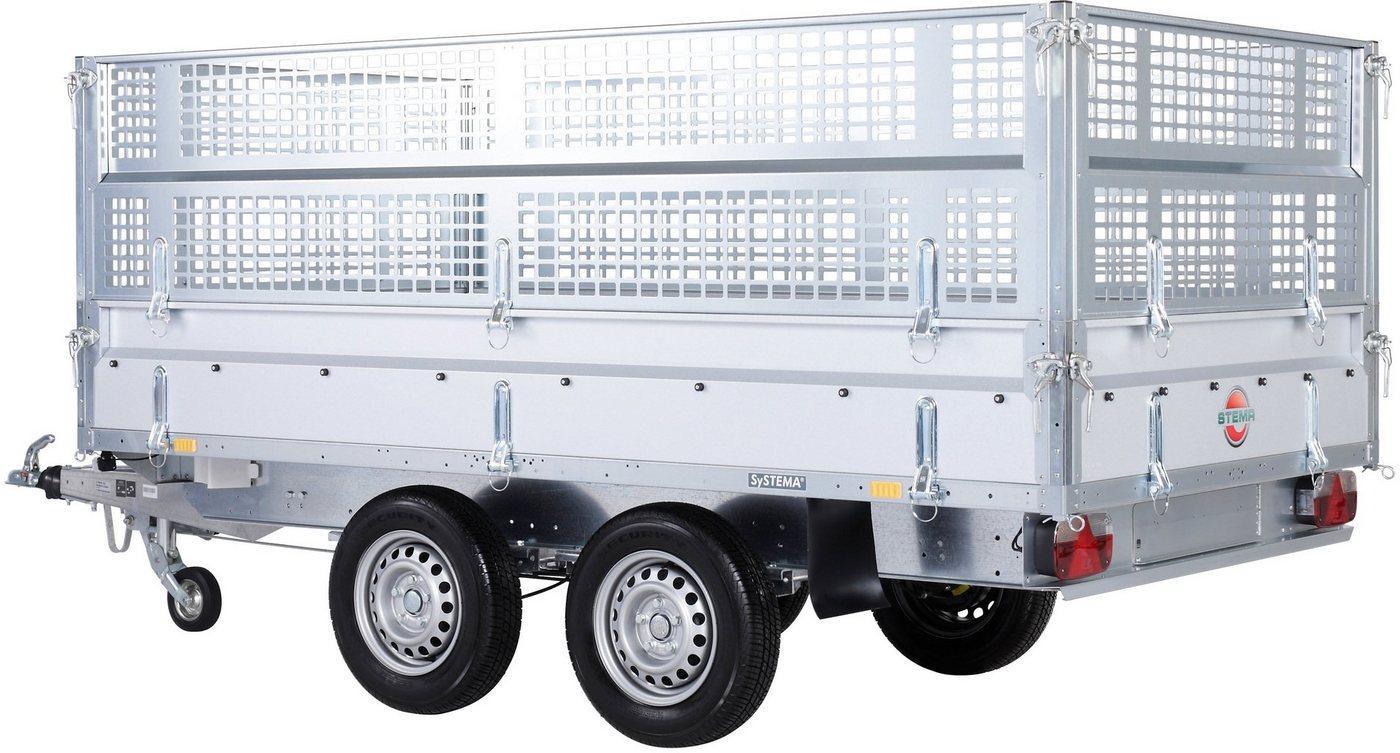 STEMA PKW-Anhänger »Rückwärtskipper 2,7 t«, max. 1870 kg, inkl. E-Hydraulikset und Gitteraufsatz