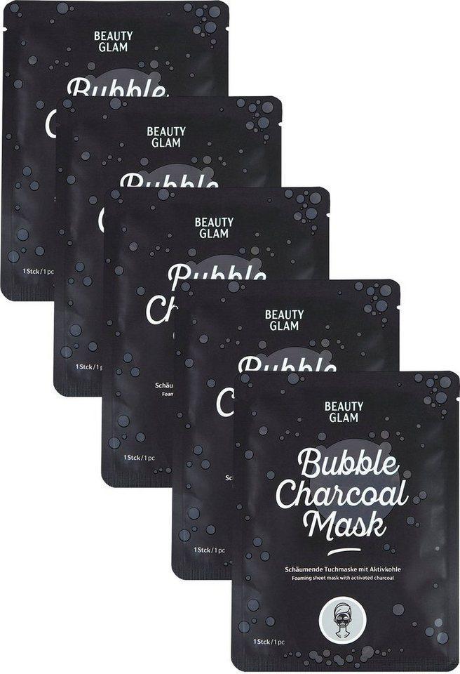 BEAUTY GLAM Gesichtsmasken-Set »Bubble Charchoal Mask« Set, 5-tlg.