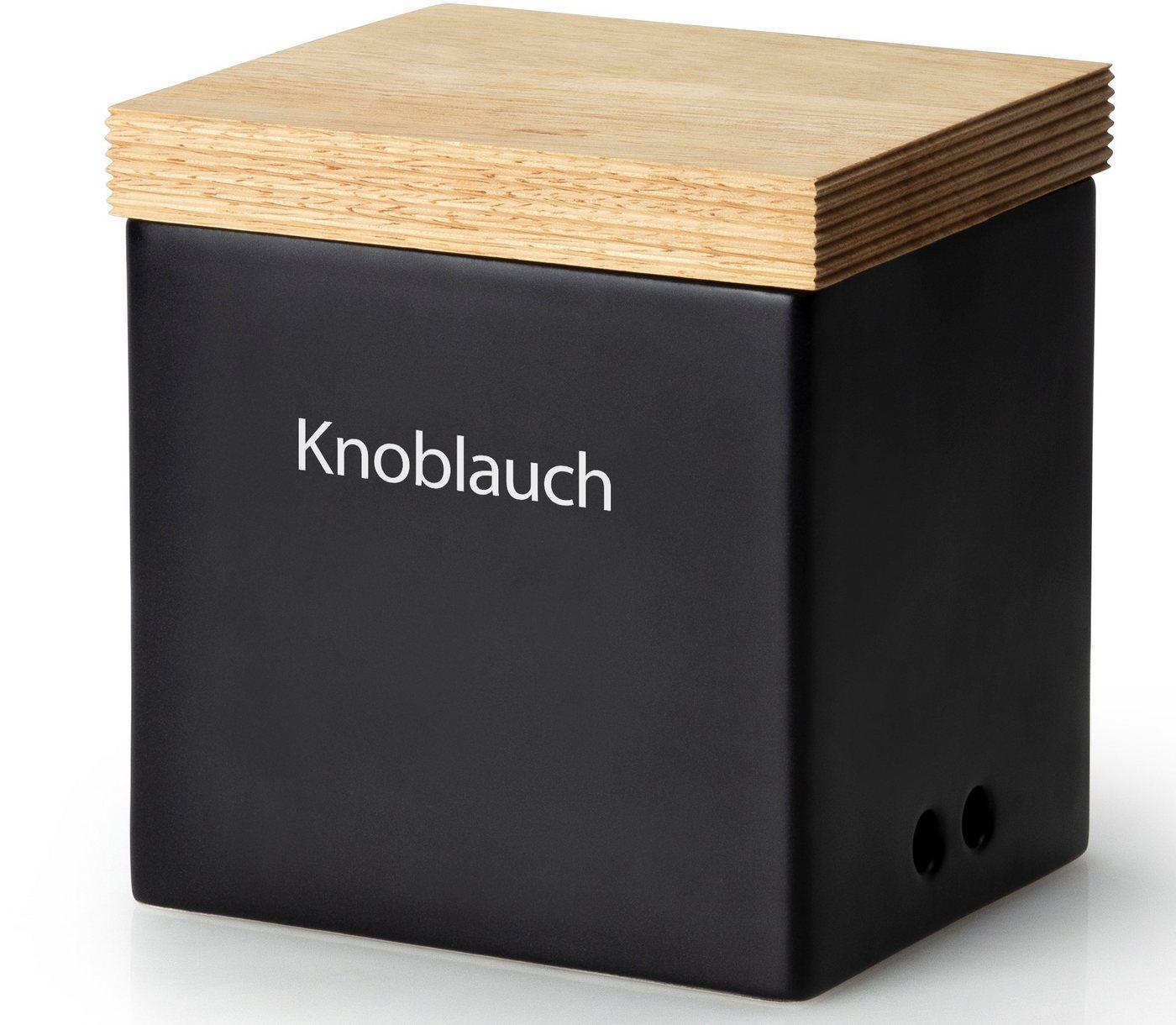 Continenta Vorratsdose, Keramik, Holz, (1-tlg), Knoblauchtopf