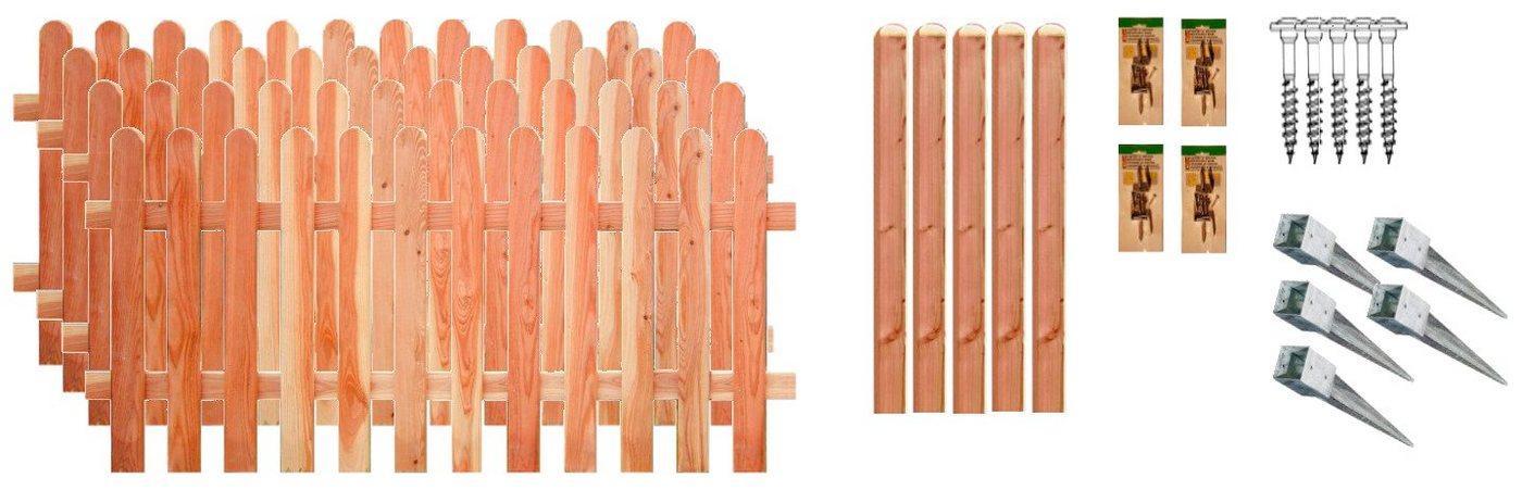 T&J Staketenzaun »Austin 2«, (Set), 4 Elemente, LxH: 765x80 cm