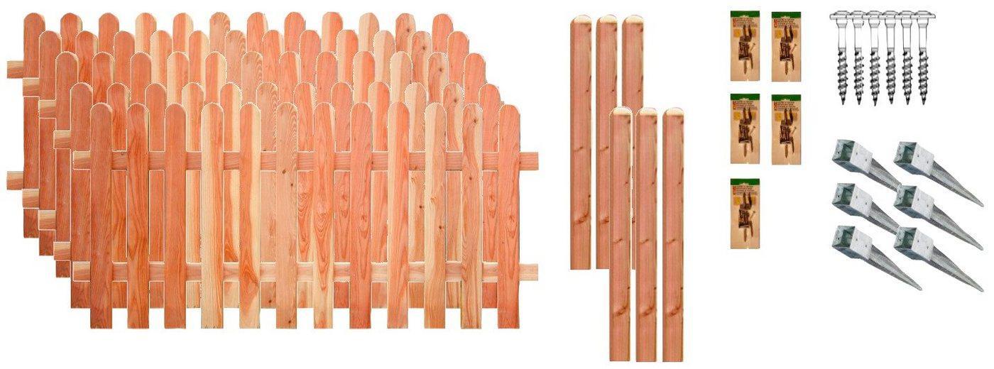 T&J Staketenzaun »Austin 3«, (Set), 5 Elemente, LxH: 954x80 cm