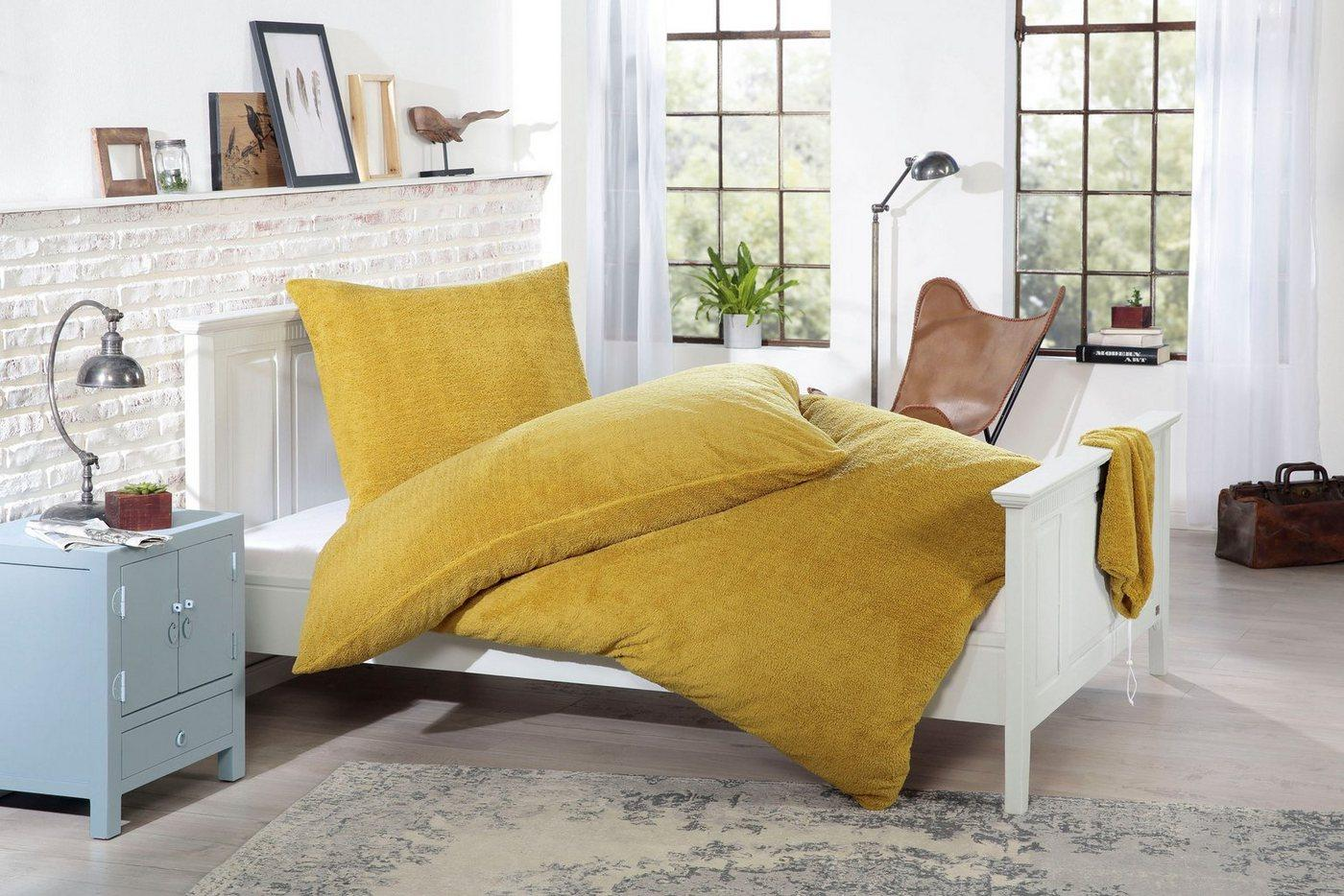 Bettwäsche »Knut«, Gözze, aus Lammfellimitat, gelb