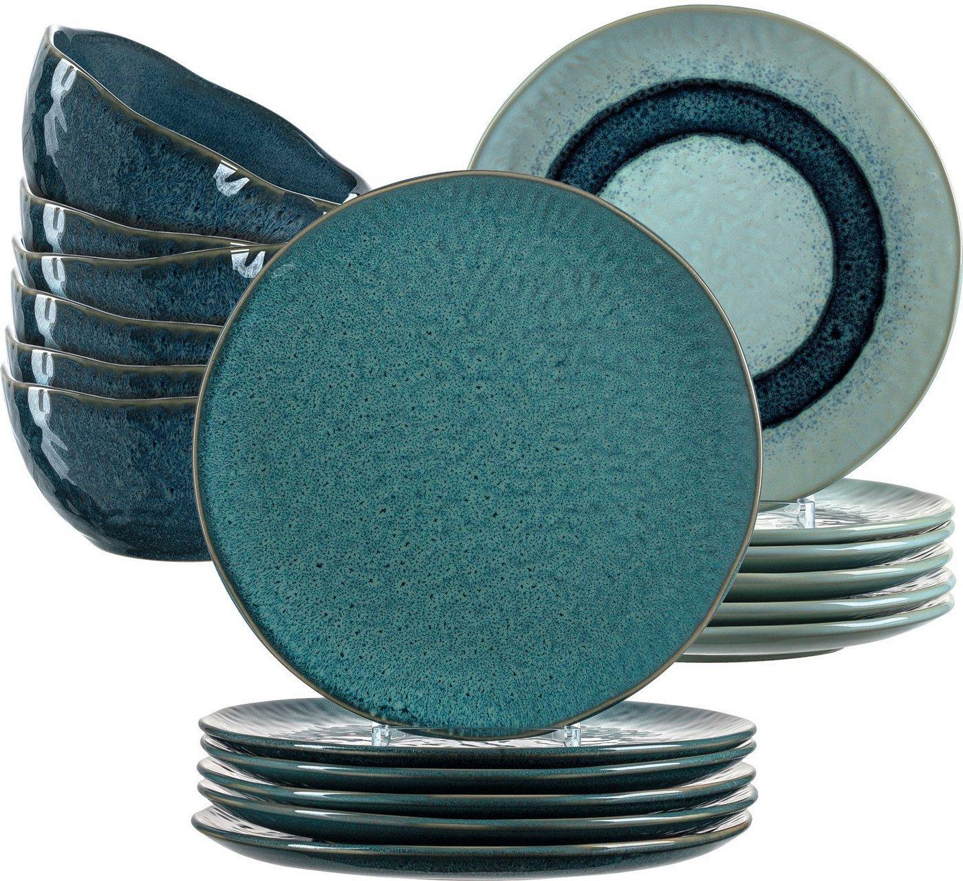 LEONARDO Geschirr-Set »Matera« (18-tlg), Keramik, rustikaler Look, blau