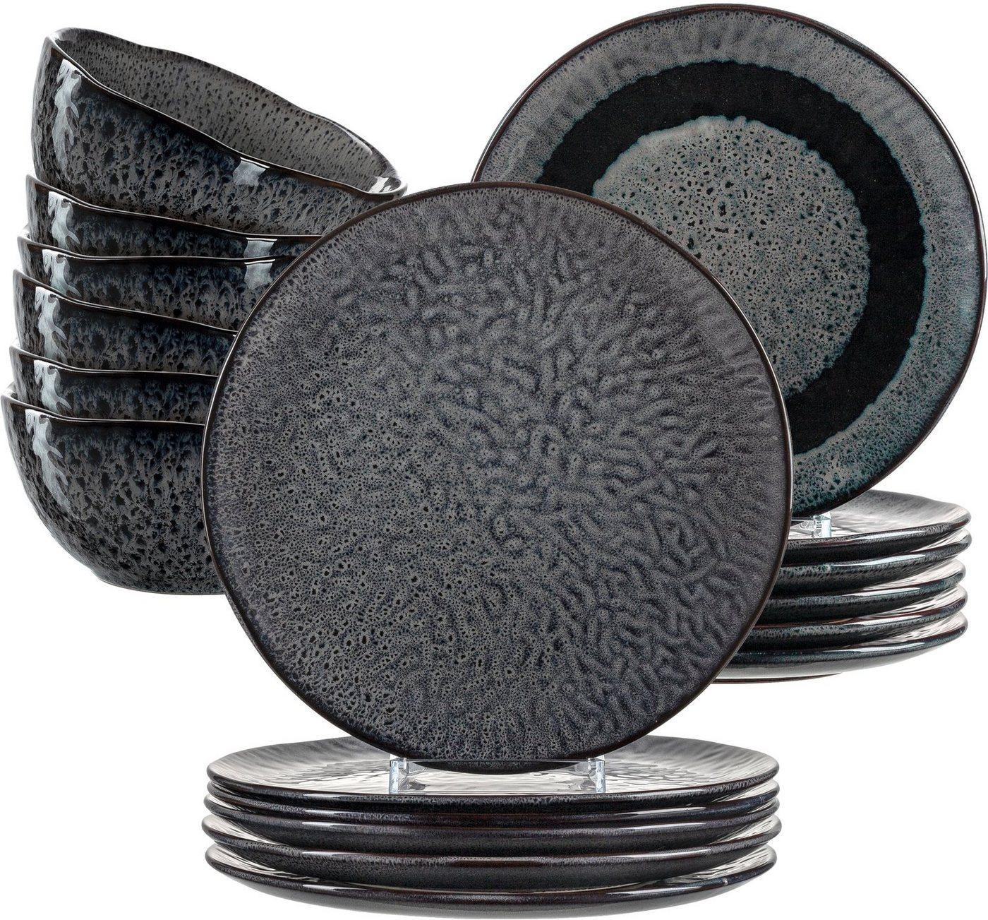 LEONARDO Geschirr-Set »Matera« (18-tlg), Keramik, rustikaler Look, grau